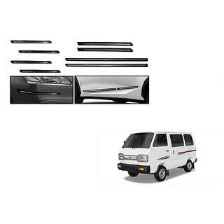 Himmlisch Combo Of Black Chrome Plated Side Beading + Black Chrome Plated Bumper Protector For Maruti Omni