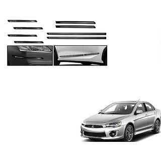 Himmlisch Combo Of Black Chrome Plated Side Beading + Black Chrome Plated Bumper Protector For Mitsubishi Lancer