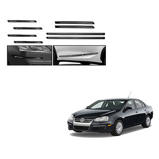 Himmlisch Combo Of Black Chrome Plated Side Beading + Black Chrome Plated Bumper Protector For Volkswagen Jetta