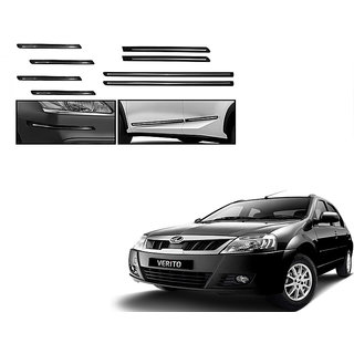 Himmlisch Combo Of Black Chrome Plated Side Beading + Black Chrome Plated Bumper Protector For Mahindra Verito