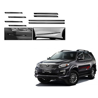 Himmlisch Combo Of Black Chrome Plated Side Beading + Black Chrome Plated Bumper Protector For Toyota Fortuner Type 1