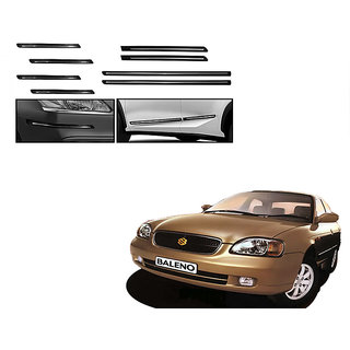 Himmlisch Combo Of Black Chrome Plated Side Beading + Black Chrome Plated Bumper Protector For  Maruti Baleno Old
