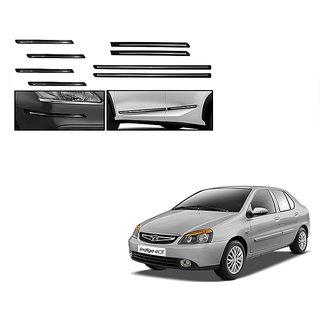 Himmlisch Combo Of Black Chrome Plated Side Beading + Black Chrome Plated Bumper Protector For Tata Indica ecs
