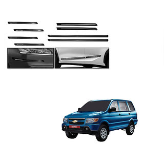 Himmlisch Combo Of Black Chrome Plated Side Beading + Black Chrome Plated Bumper Protector For Chevrolet Tavera