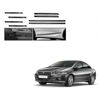 Himmlisch Combo Of Black Chrome Plated Side Beading + Black Chrome Plated Bumper Protector For Fiat Linea