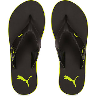 Puma Men Black  Yellow winglet Flip Flops