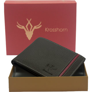 Krosshorn Brown Pure Leather Wallet for Mens