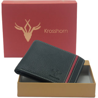 Krosshorn Black Pure Leather Wallet for Mens