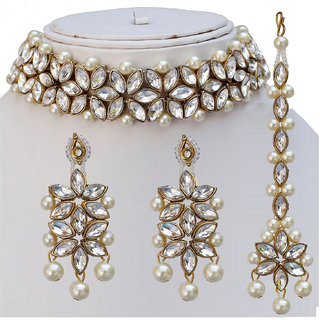 8ddcfa805f3 Lucky Jewellery Designer White Color Stone Antique Plating Pearl Choker  Necklace Set For Girls Women