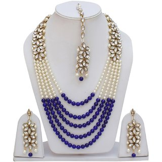Lucky Jewellery Designer Blue Color Layered Pearl Partywear Necklace Set For Girls  Women