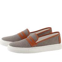 Zeboot Men's Grey Canvas Slip On Sneakers