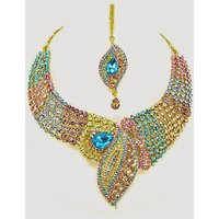 Colorful Stone Necklace Set With Mangtikka & Earrings - 69190