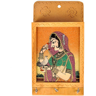 shoppingtara Jaipuri Gemstone Painted Key and Letter Holder Handicraft Key Holder