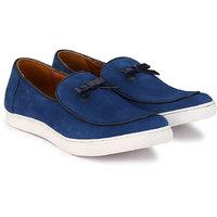 Zeboot Men's Blue Suede Slip On Sneakers