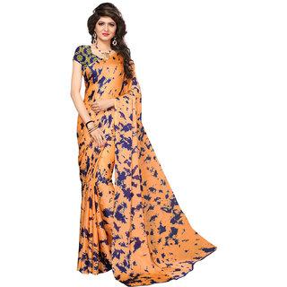 Swaron Women's Orange and Blue Colored Printed Casual Wear Satin Saree