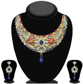 JewelMaze Multicolour Austrian Stone Kundan Necklace Set-2200701
