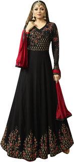 Fashion Hub Black Georgette Anarkali salwar Kameez