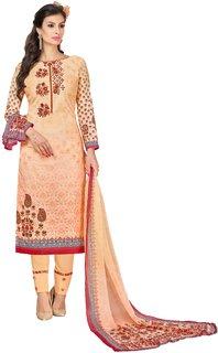 Fashion Hub Peach Digitally Printed Un-Stitched Salwar Suit