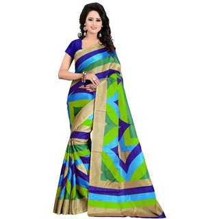 Aaliyah Multicolor Bhagalpuri Silk Printed Saree With Blouse