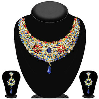 JewelMaze Multicolour Austrian Stone Kundan Necklace Set-2200701