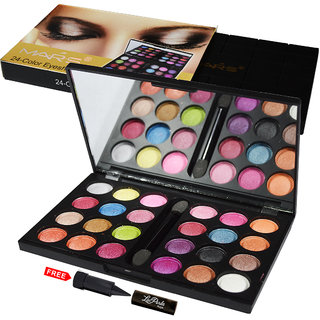 Mars 24-Color Eyeshadow Shimmer EP02-02A With Free LaPerla Kajal Worth Rs.125/