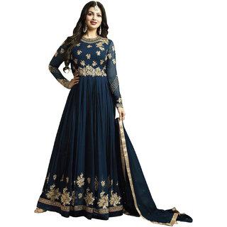 Ap Enterprise Women Georgette Blue Embroidered Semi Stitched Long Anarkali Suit (ERTY10472BlueFree Size)