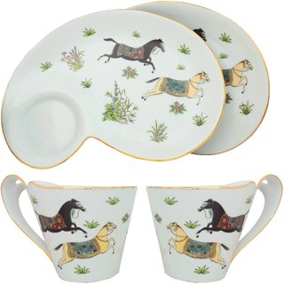 K.S Designer Set of Tea cups and serving plates in White and floral design  sc 1 st  Shopclues & Buy K.S Designer Set of Tea cups and serving plates in White and ...