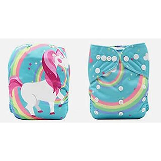 Tinytots Pocket Cloth Diaper - Unicorn print with microfiber insert