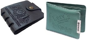 Unique Black Wallet + Green Sports Wallet For Men