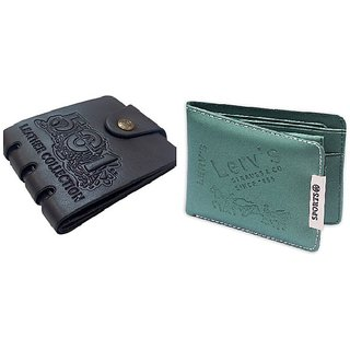 Unique Black Pu Wallet + Green Sports Wallet For Men (Pu-046) (Synthetic leather/Rexine)