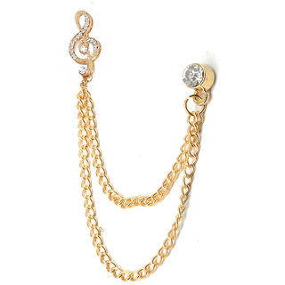 Men Style Gold Crystal Music Note Chain Lapel Pin Tie Chain Lapel PinCollar  Pin Shirt Stud For Men