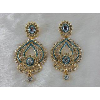 Crystaly Gold Plated Turquoise Jhumka Kundan Zerconic earriings Set