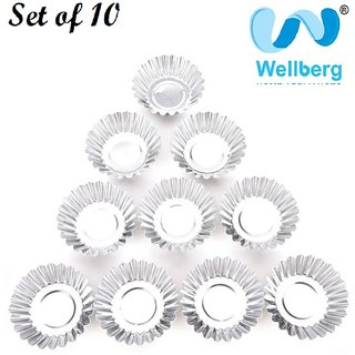 wellberg Aluminium Cake Moulds / Pudding / Jelly Cup Mould/ Cup Cake - Set of 10  Big mould  For Multi-Purpose