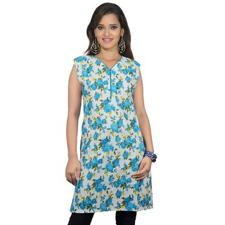 101 Cart fashion Printed Cotton Kurti in Blue with Piping in Neck [TTK8019_XL]