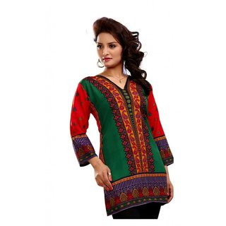 101 Cart fashion Crepe Kurti in Multi Color with 3/4 sleeves [TTK8026A_M]