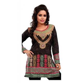 101 Cart fashion Cotton Printed Kurti in Black with Golden and Red Neck [TTK8027B_L]