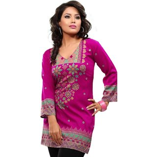 101 Cart fashion Crepe Kurti in Pink with 3/4 sleeves [TTK8028A_XL]