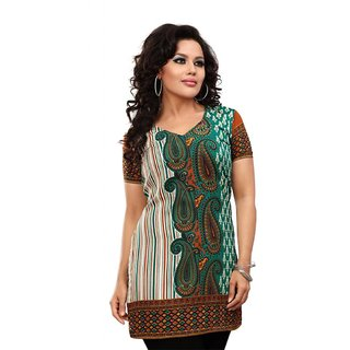 101 Cart fashion Crepe Kurti in Green with half sleeves [TTK8029A_L]