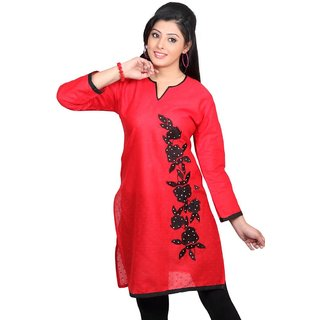 101 Cart fashion Cotton Printed Kurti in Red with Patch in Black [TTK9001A_L]