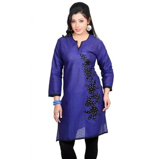 101 Cart fashion Cotton Printed Kurti in Blue with Patch in Black [TTK9001A_L]