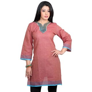 101 Cart fashion Cotton Printed Kurti in Brown with Patch [TTK9002B_L]