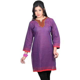 101 Cart fashion Cotton Printed Kurti in Purple with Patch [TTK9002B_L]