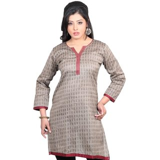 101 Cart fashion Cotton Printed Kurti in Grey with Patch in Neck [TTK9003B_L]