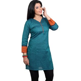 101 Cart fashion Cotton Printed Kurti in Rama Green with Pipping in Neck [TTK9004A_L]