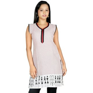 101 Cart fashion Cotton Printed Kurti in White with Pipping in Neck [TTK9014_L]
