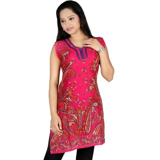 101 Cart fashion Cotton Printed Kurti in Pink [TTK9016_L]