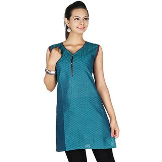 101 Cart fashion Cotton Printed Kurti in Blue with 3/4 sleeves [TTK9027C_2XL]