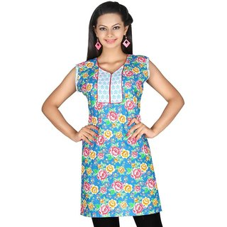 101 Cart fashion Cotton Printed Kurti in Blue with half sleeves [TTK9029B_2XL]