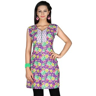 101 Cart fashion Cotton Printed Kurti in Purple with half sleeves [TTK9029C_3XL]
