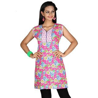 101 Cart fashion Cotton Printed Kurti in Pink with half sleeves [TTK9029D_2XL]